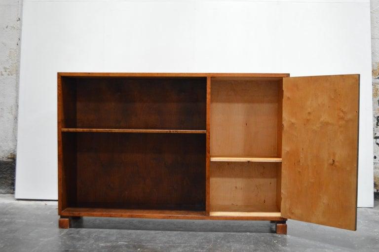 Swedish Art Deco Functionalist Flame Birch Cabinet Bookcase In Good Condition In Atlanta, GA