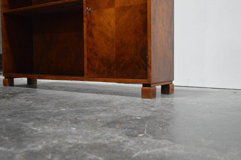 Mid-20th Century Swedish Art Deco Functionalist Flame Birch Cabinet Bookcase