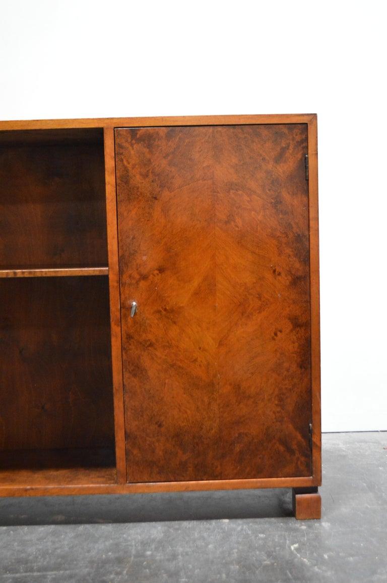 Swedish Art Deco Functionalist Flame Birch Cabinet Bookcase 1