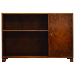 Swedish Art Deco Functionalist Flame Birch Cabinet Bookcase