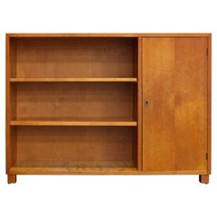 Swedish Art Deco Functionalist Golden Birch Cabinet Bookcase