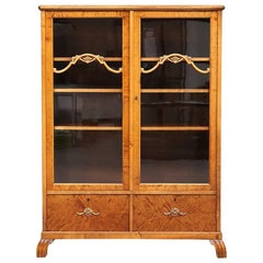 Swedish Art Deco Glass Front Cabinet Marquetry Early 20th Century Vitrine