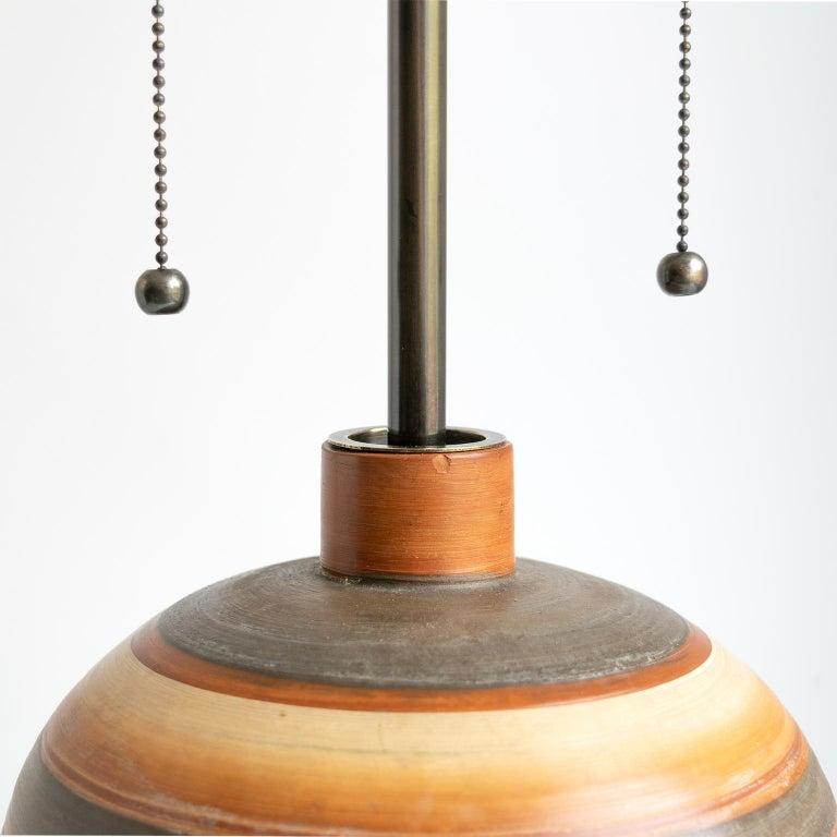 Swedish Art Deco Hand Thrown 1937 Ceramic Vase Lamp by Gudrun Slettengren For Sale 4