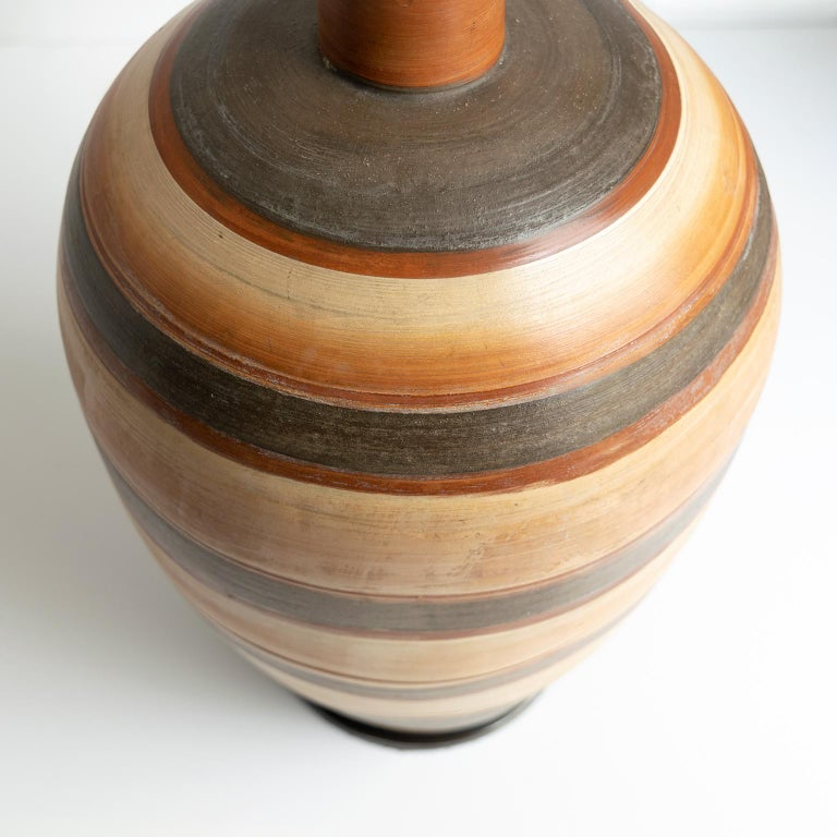 Swedish Art Deco Hand Thrown 1937 Ceramic Vase Lamp by Gudrun Slettengren For Sale 1