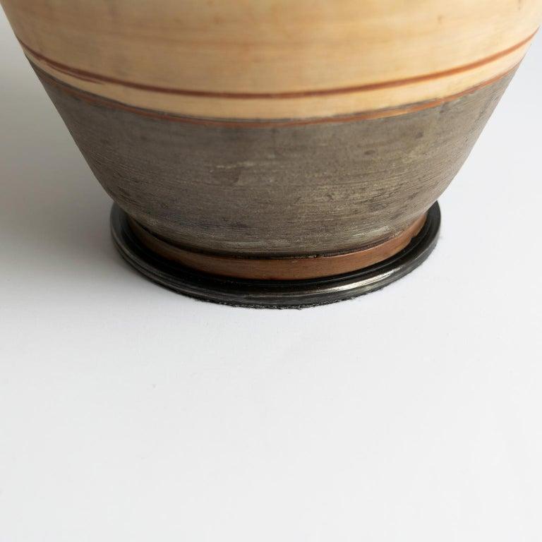 Swedish Art Deco Hand Thrown 1937 Ceramic Vase Lamp by Gudrun Slettengren For Sale 2