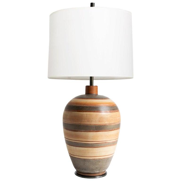 Swedish Art Deco Hand Thrown 1937 Ceramic Vase Lamp by Gudrun Slettengren For Sale