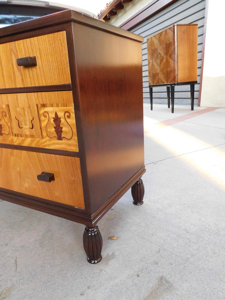 Swedish Art Deco Inlaid Chest of Drawers in Elm, Rosewood and Birch Root, 1930s For Sale 6