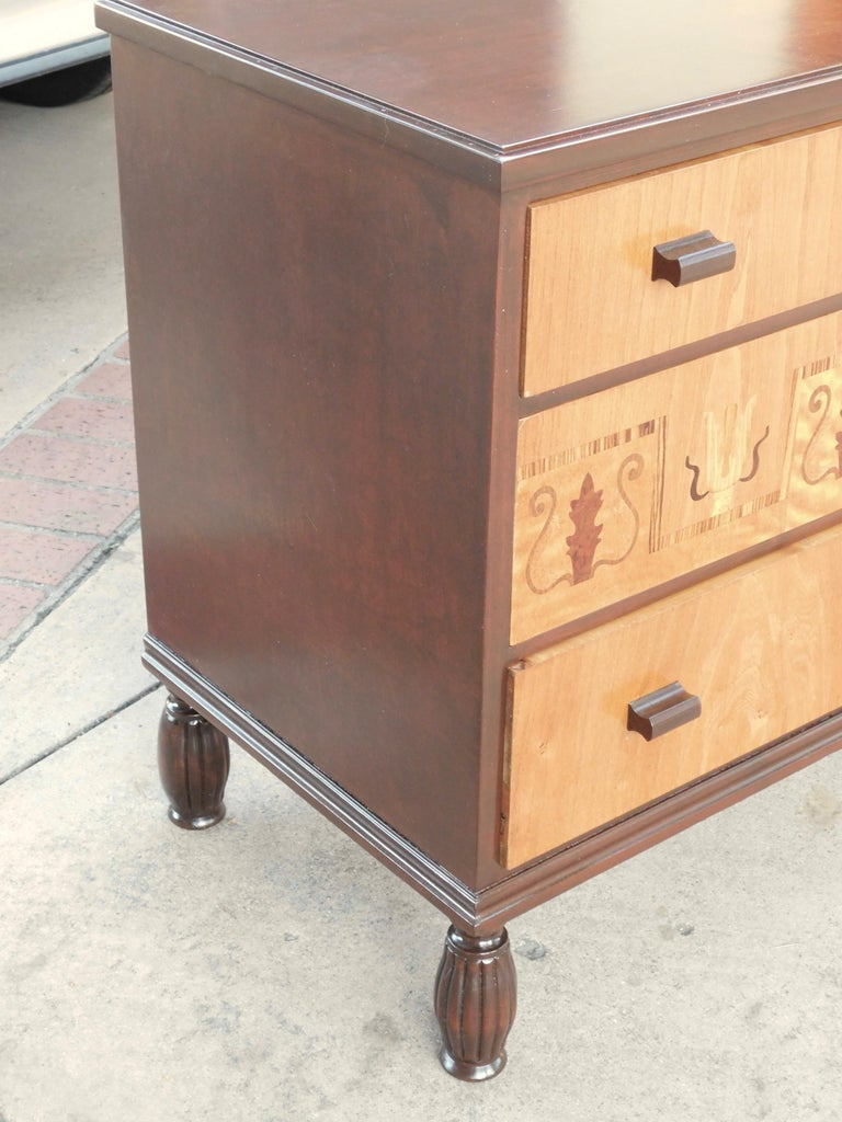 Swedish Art Deco Inlaid Chest of Drawers in Elm, Rosewood and Birch Root, 1930s For Sale 8
