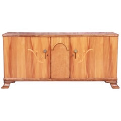 Swedish Art Deco Inlaid Marquetry Burled Maple Sideboard Credenza or Bar Cabinet
