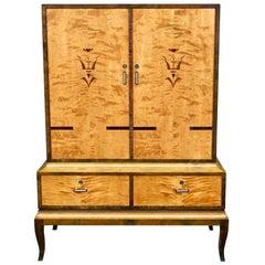 Swedish Art Deco Inlaid Storage Cabinet in Bookmatched Golden Birch, circa 1920