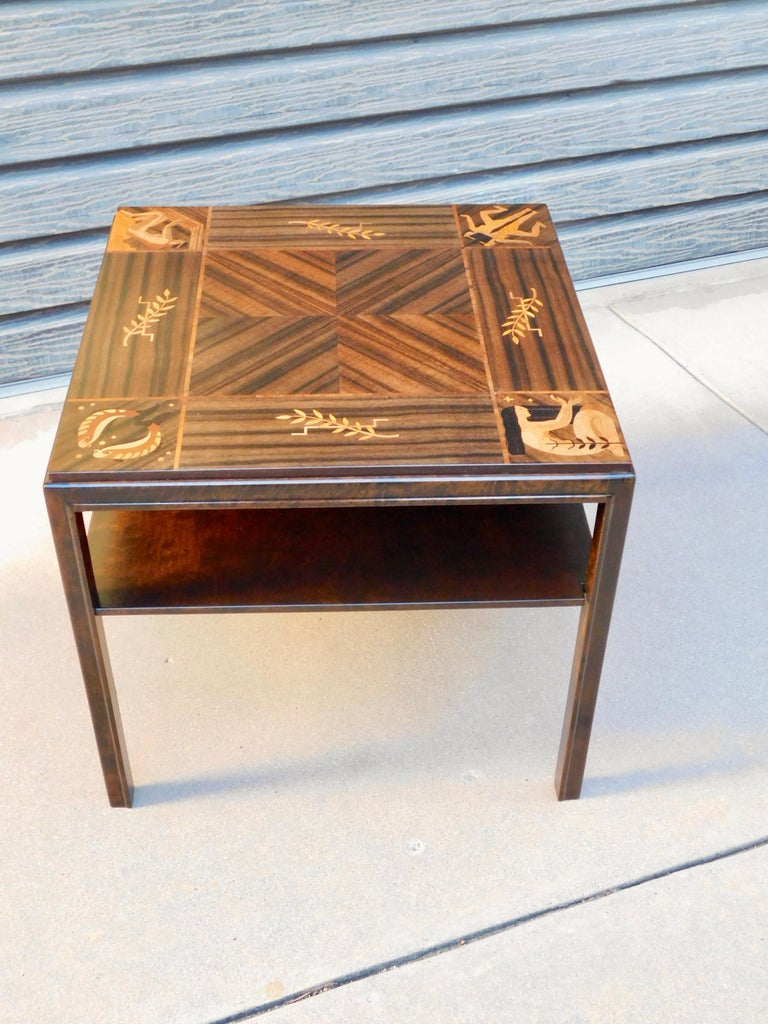 Swedish Art Deco Inlaid Zodiac Side Table in Walnut and Birch by Mjölby Intarsia For Sale 7