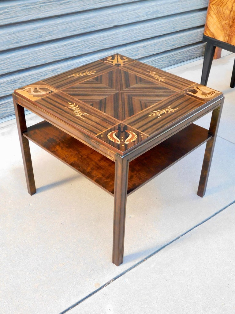 Swedish Art Deco Inlaid Zodiac Side Table in Walnut and Birch by Mjölby Intarsia For Sale 8