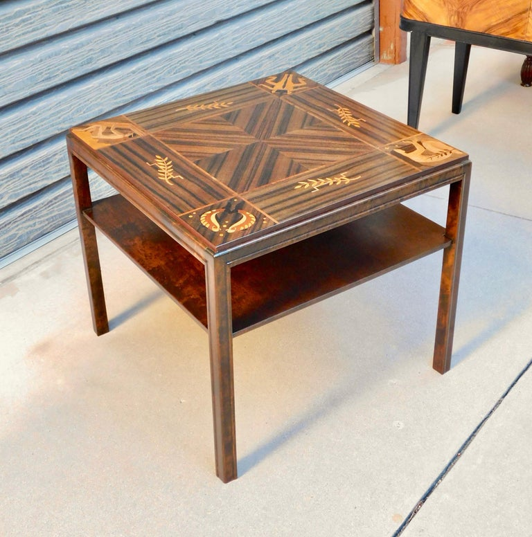 Swedish Art Deco Inlaid Zodiac Side Table in Walnut and Birch by Mjölby Intarsia For Sale 1