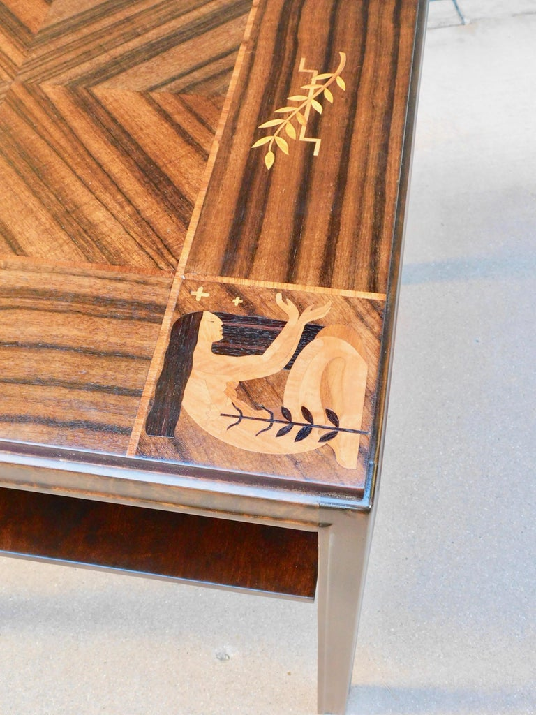 Swedish Art Deco Inlaid Zodiac Side Table in Walnut and Birch by Mjölby Intarsia For Sale 3