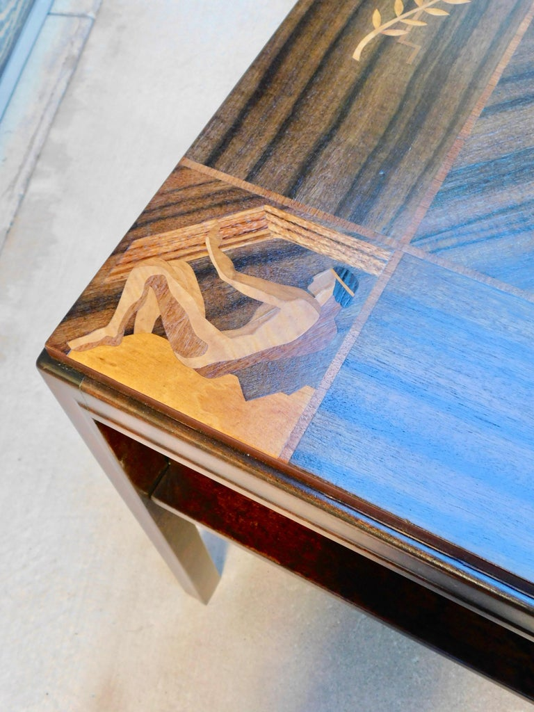 Swedish Art Deco Inlaid Zodiac Side Table in Walnut and Birch by Mjölby Intarsia For Sale 5