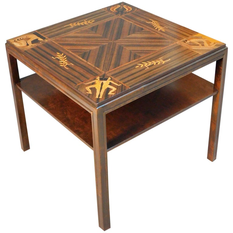 Swedish Art Deco Inlaid Zodiac Side Table in Walnut and Birch by Mjölby Intarsia For Sale
