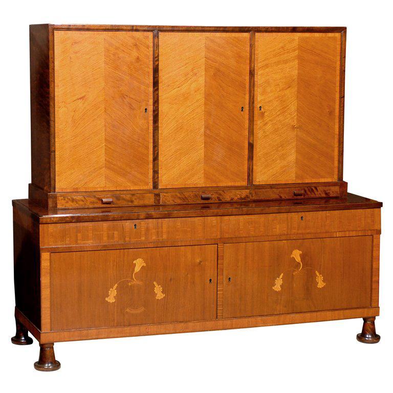 Swedish Art Deco Intarsia Buffet Cabinet