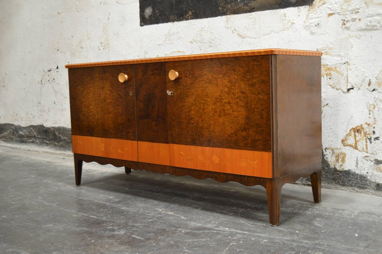 Other Swedish Art Deco Moderne Intarsia Sideboard Buffet Cabinet For Sale