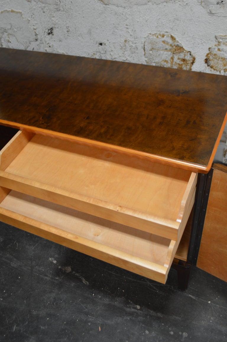 Birch Swedish Art Deco Moderne Intarsia Sideboard Buffet Cabinet For Sale