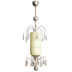 Swedish Art Deco Pendant by Bohlmarks with Two Tiers of Faceted Crystals