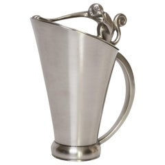 Swedish Art Deco Pewter Pitcher with Monkey from G.A.B, 1933