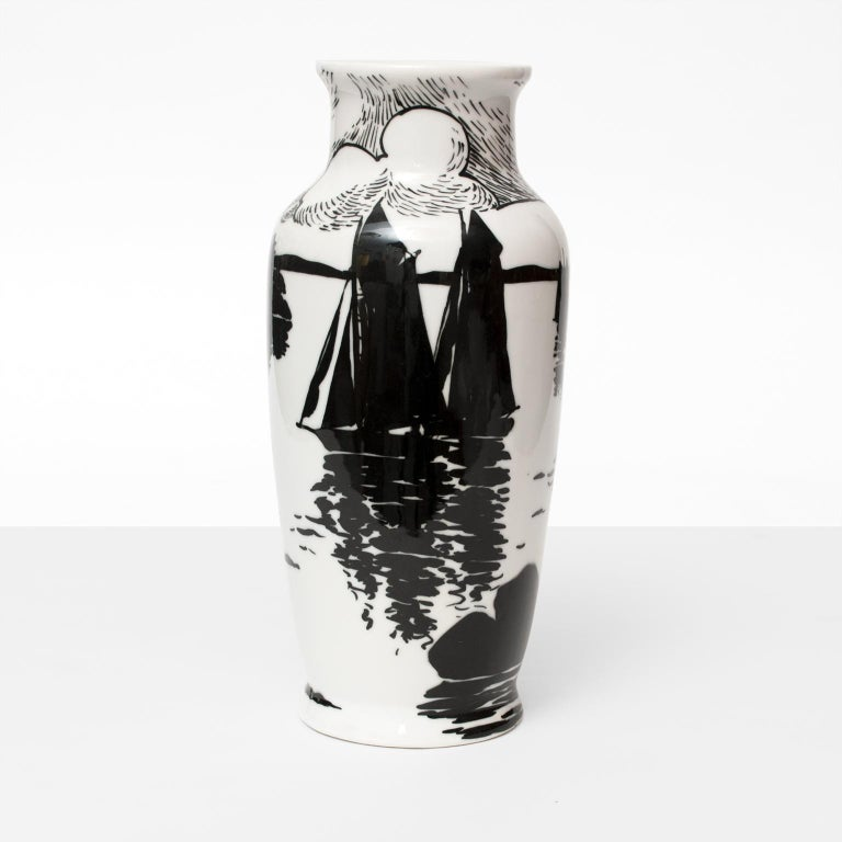 Swedish Art Deco hand decorated porcelain vase depicting sail boats on water, landscape and a sky with clouds all in black and white. Designed by Algot Ericsson, circa 1915-1919 at A.L.P. Measures: height 12.5