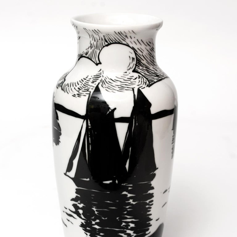 Swedish Art Deco Porcelain Vase by Algot Eriksson, for ALP, Lidkoping In Good Condition For Sale In New York, NY