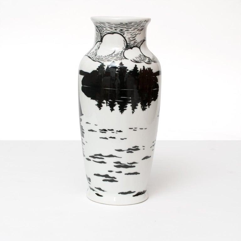 Swedish Art Deco Porcelain Vase by Algot Eriksson, for ALP, Lidkoping For Sale 1