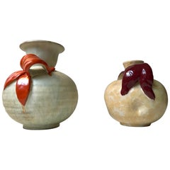 Swedish Art Deco Pottery Vases by Harald Ostergren for Ekeby, 1930s, Set of 2