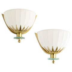 Swedish Art Deco, Scandinavian Modern Brass and Glass Sconces with Fabric Shades