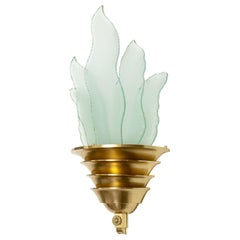 Swedish Art Deco Swedish Grace Brass Sconce with Glass Flames