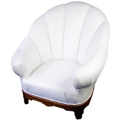 Swedish Art Deco Shellback Armchair White Italian Leather Fluted Decoration