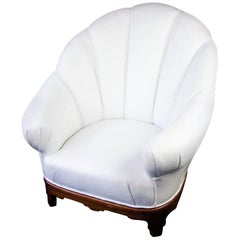 Swedish Art Deco Shellback Armchair White Italian Leather Fluted Decoration
