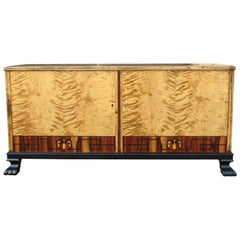 Swedish Art Deco Sideboard/Cabinet in Golden Flame Birch and Rosewood circa 1930