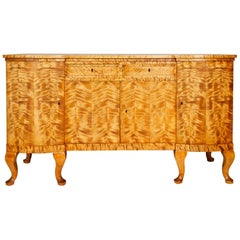 Swedish Art Deco Sideboard of Bookmatched Golden Flame Birch