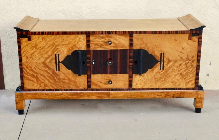 Swedish Art Deco Sizeboard in Golden Flame Birch/Rosewood with Bakelite Handles For Sale 8