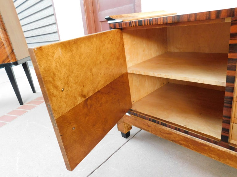 Swedish Art Deco Sizeboard in Golden Flame Birch/Rosewood with Bakelite Handles For Sale 12