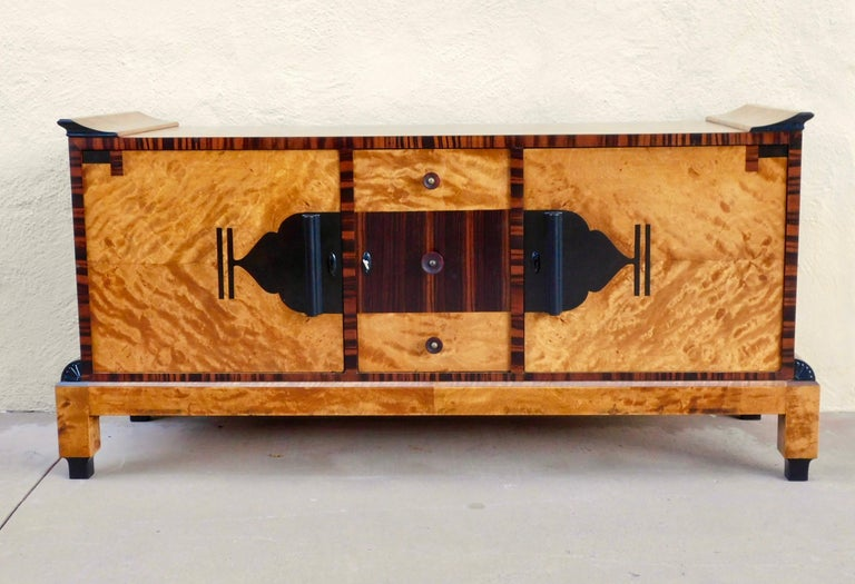 Mid-20th Century Swedish Art Deco Sizeboard in Golden Flame Birch/Rosewood with Bakelite Handles For Sale