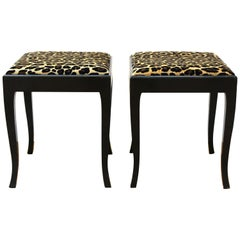 Swedish Art Deco Stools with Leopard Print Upholstery