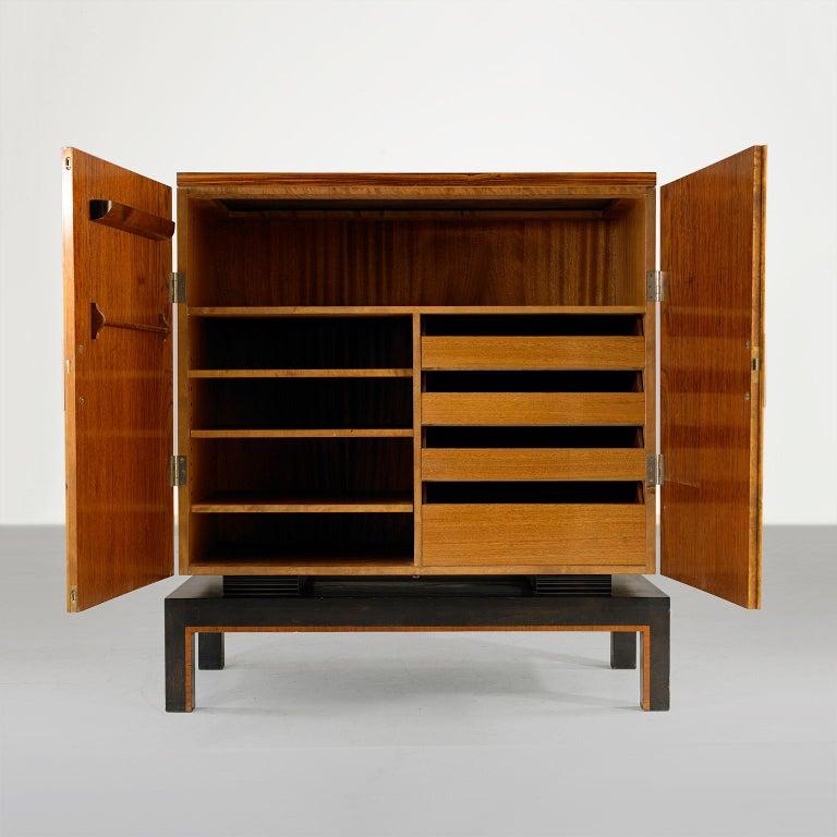 Scandinavian Modern Swedish Art Deco Two-Door Cabinet with Mahogany and Macassar Ebony Veneer For Sale