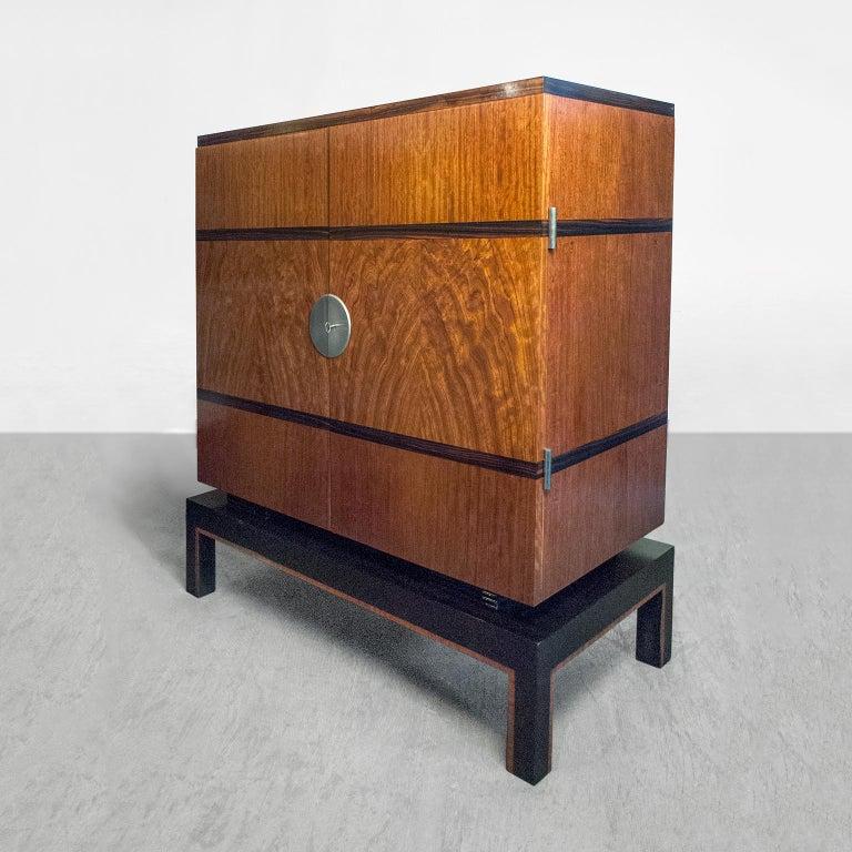 Scandinavian Swedish Art Deco Two-Door Cabinet with Mahogany and Macassar Ebony Veneer For Sale