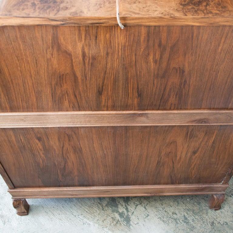 Swedish Art Deco Walnut Veneered Drop Front Secretary Cabinet by Erik Chambert For Sale 8