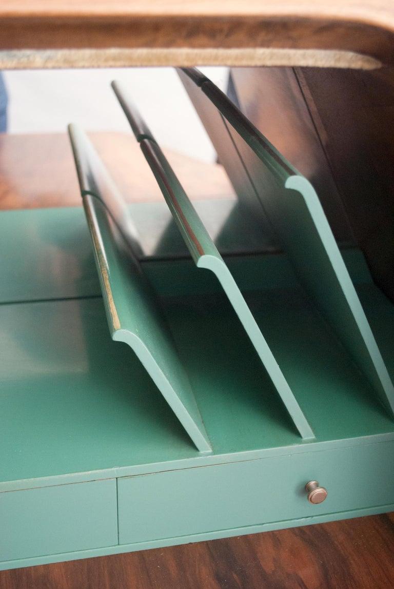 Swedish Art Deco Walnut Veneered Drop Front Secretary Cabinet by Erik Chambert For Sale 5