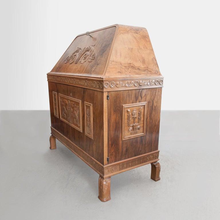 20th Century Swedish Art Deco Walnut Veneered Drop Front Secretary Cabinet by Erik Chambert For Sale
