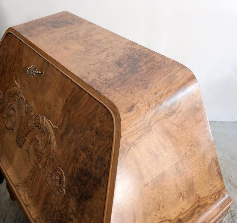 Swedish Art Deco Walnut Veneered Drop Front Secretary Cabinet by Erik Chambert For Sale 1