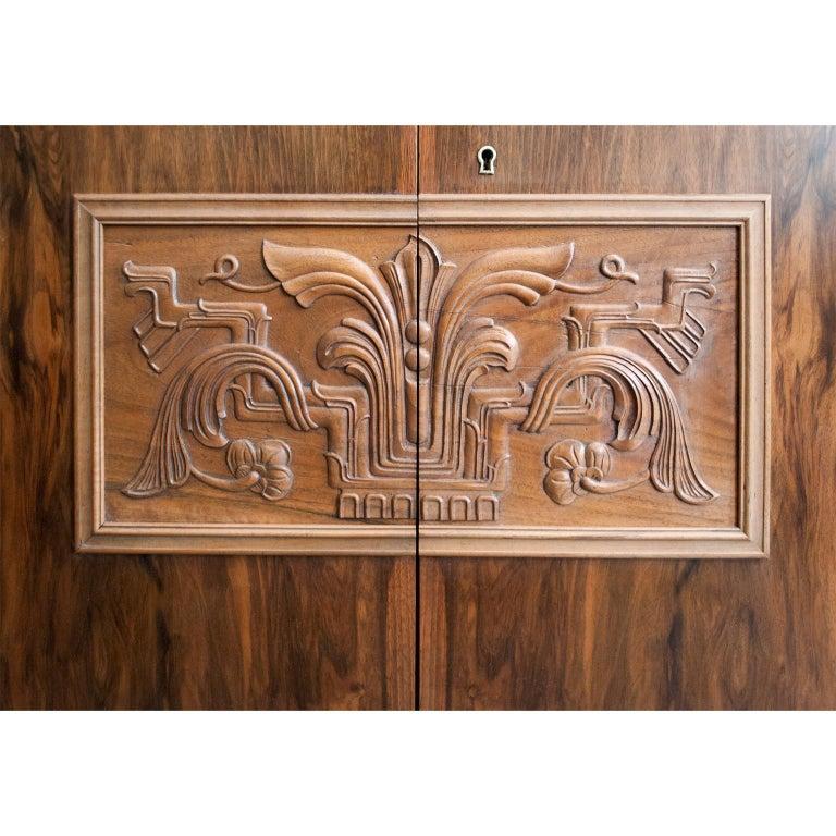 Swedish Art Deco Walnut Veneered Drop Front Secretary Cabinet by Erik Chambert For Sale 3
