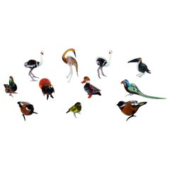 Swedish Art Glass, 11 Miniature Figures in the Form of Birds, 1970s-1980s