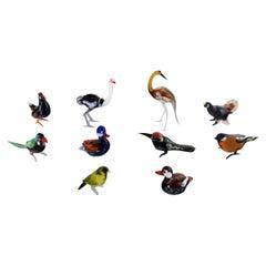 Swedish Art Glass, Ten Miniature Figures in the Form of Birds, 1970s-1980s