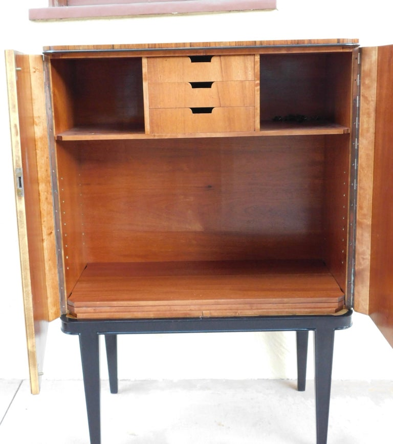 Swedish Art Modern Dry Bar or Sideboard in Book Matched Walnut, circa 1940 For Sale 11
