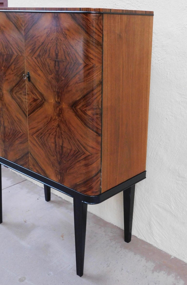 Swedish Art Modern Dry Bar or Sideboard in Book Matched Walnut, circa 1940 For Sale 1